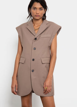 Loulou Padded Shoulder Vest Dress in Tawny Brown Dress The Frankie Shop