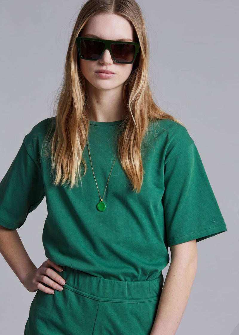 Loulou Studio Lipari Cotton T-Shirt in Green Top Loulou Studio