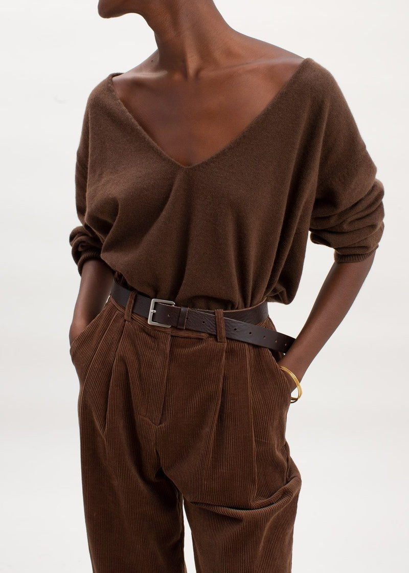 Low Deep V-Neck Boxy Sweater in Chocolate Sweater The Frankie Shop
