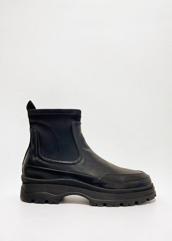 Lug Sole Neoprene Chelsea Ankle Boots in Black