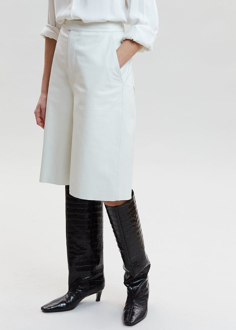 Manu Leather Long Shorts by Remain Birger Christensen in Bright White Shorts Remain