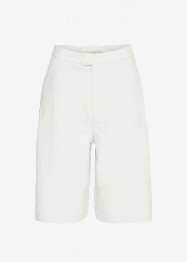 Manu Leather Shorts by REMAIN in Bright White