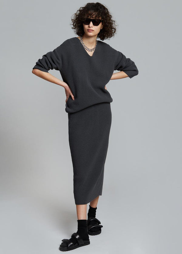 Minette Rib Knit Midi Skirt in Asphalt Skirt The Wave