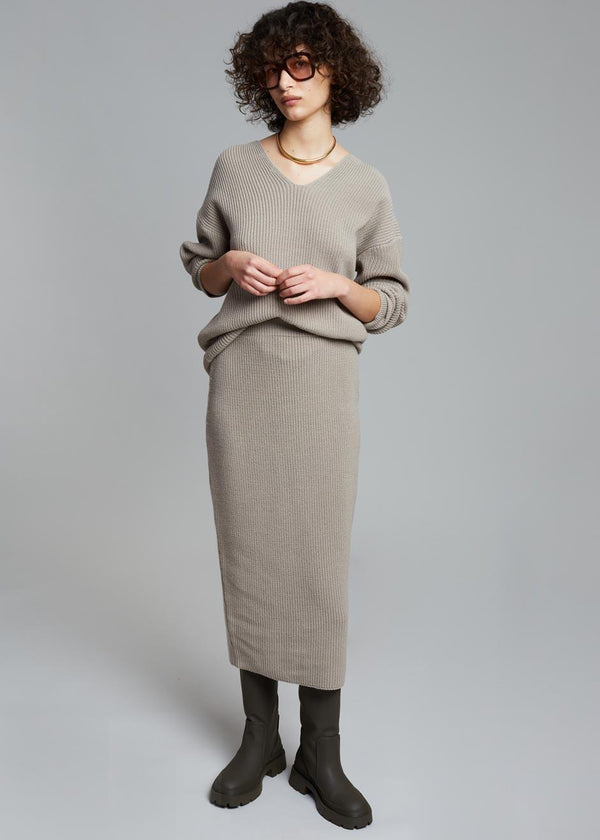 Minette Rib Knit Midi Skirt in Mink Skirt The Wave