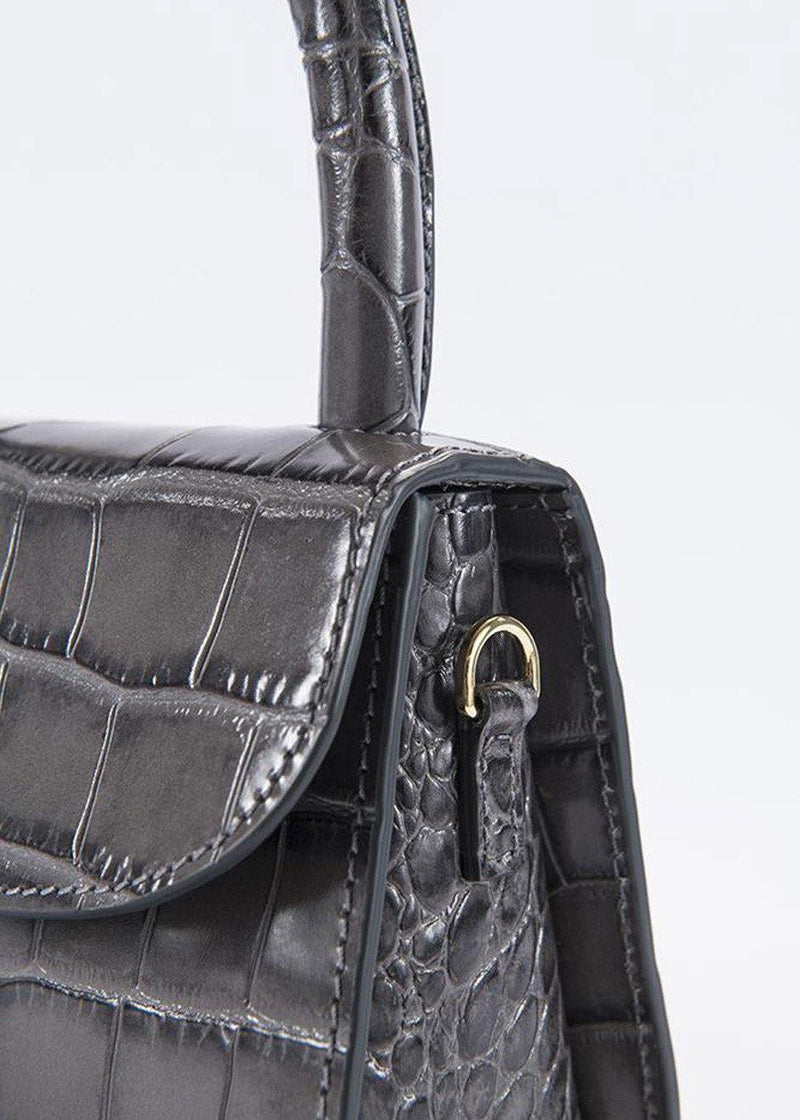 Mini Croc Embossed Leather Bag by BY FAR in Grey
