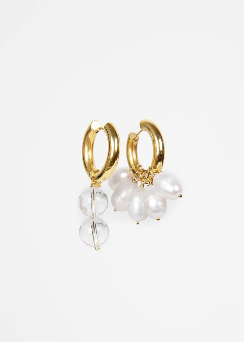 Mismatched Pearl & Clear Bead Hoop Earrings by Timeless Pearly Earrings Timeless Pearly