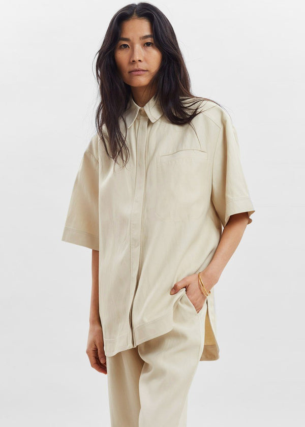 Moheli Short Sleeve Shirt by Loulou Studio in Beige Top Loulou Studio