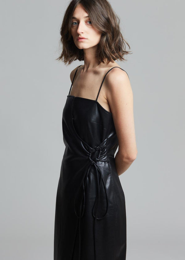 Nanushka Anubi Vegan Leather Dress in Black Dress Nanushka