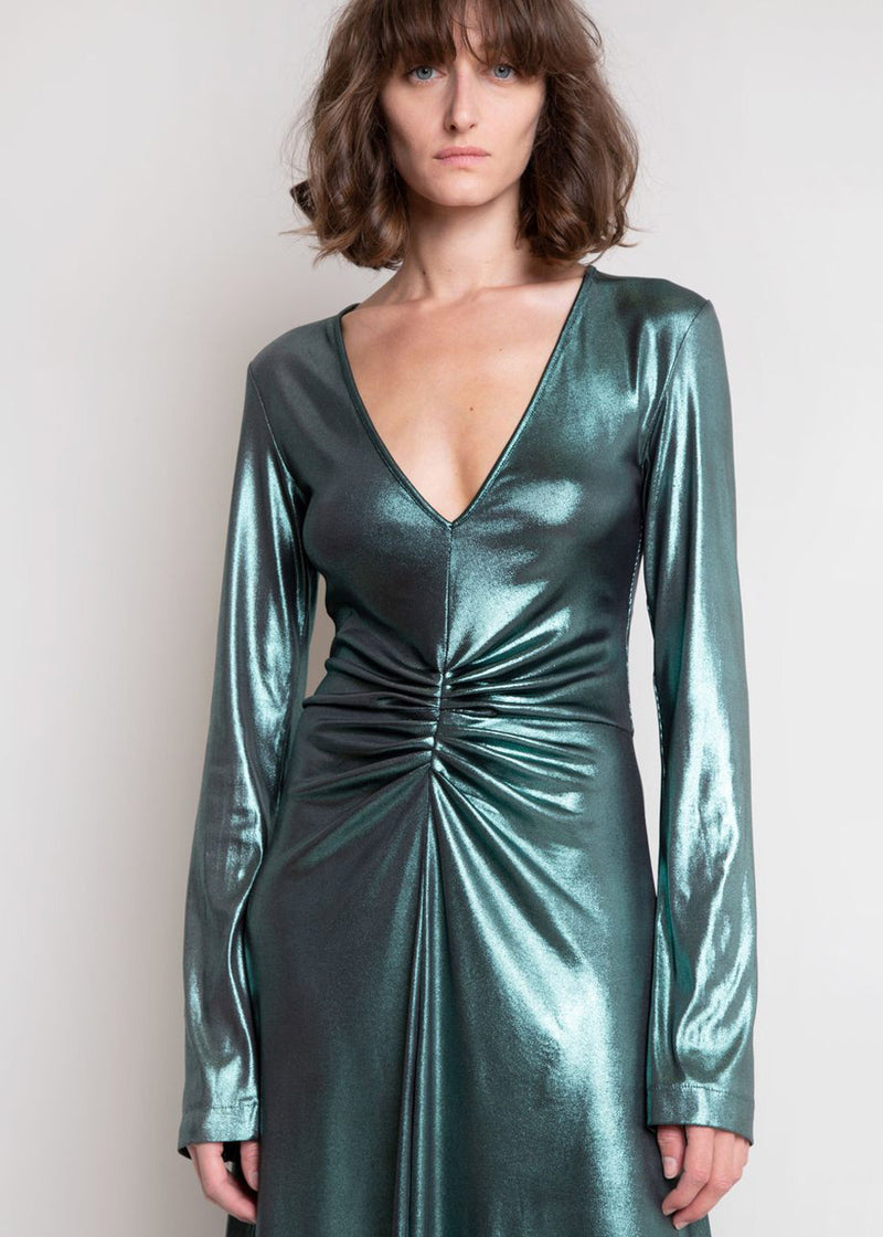 Number 7 Metallic Dress by ROTATE in Emerald Green