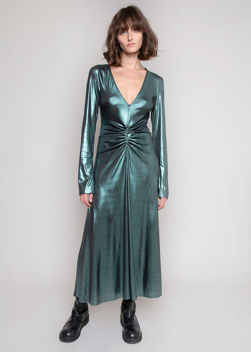 Number 7 Metallic Dress by ROTATE in Emerald Green Dress Rotate