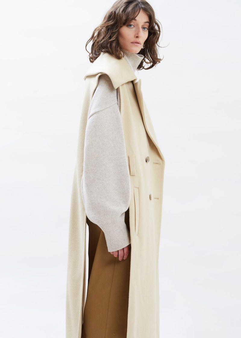 Nura Sleeveless Coat by Nanushka in Creme