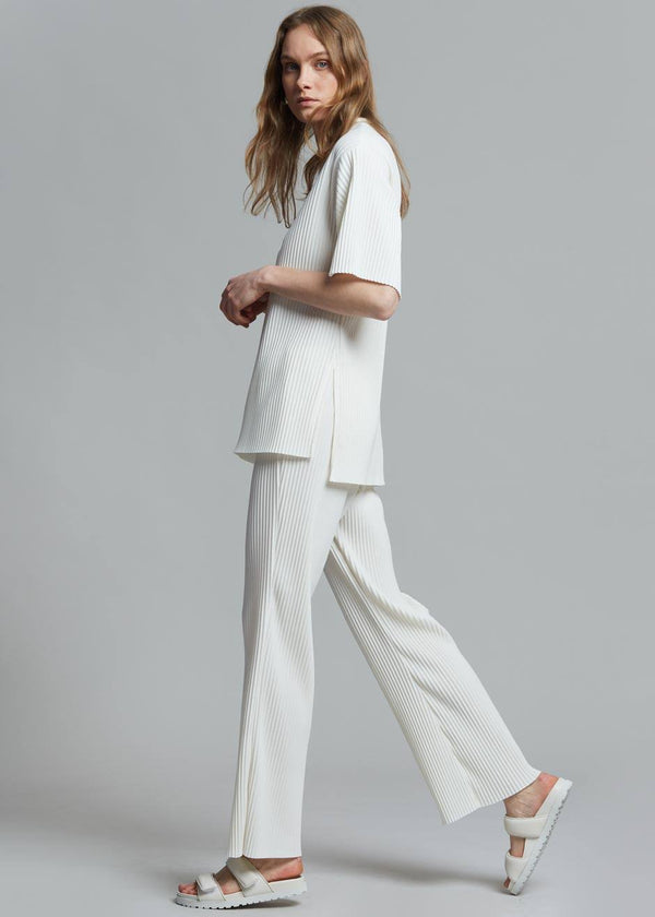 Odile Plissé Pants in Milk Pants The Frankie Shop