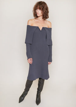 Off The Shoulder Knitted Dress by Bevza in Grey