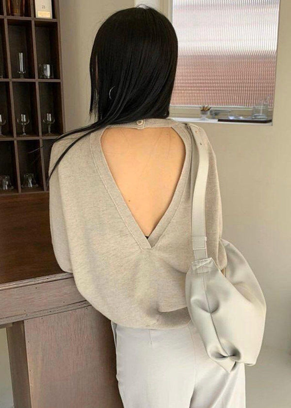 Open Back Crewneck Sweater in Mist Sweater More than Yesterday