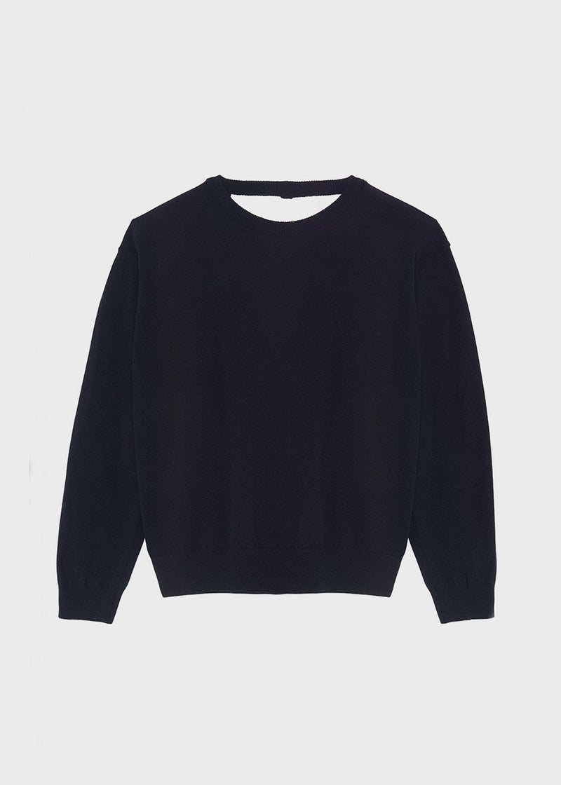 Open Back Crewneck Sweater in Navy Sweater More than Yesterday
