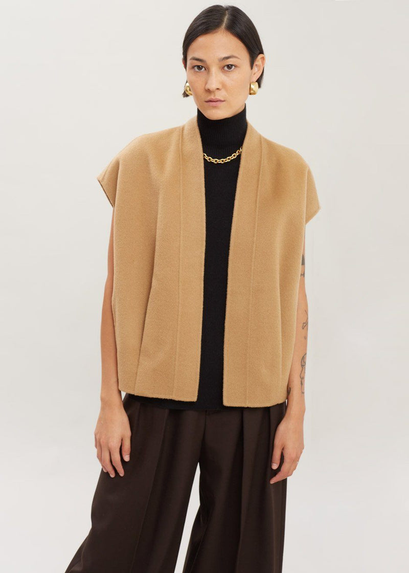 Open Front Wool Vest in Biscuit Vest The Frankie Shop