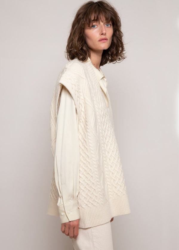 Oversized Cable Knit Vest in Winter White Vest Cafe Noir
