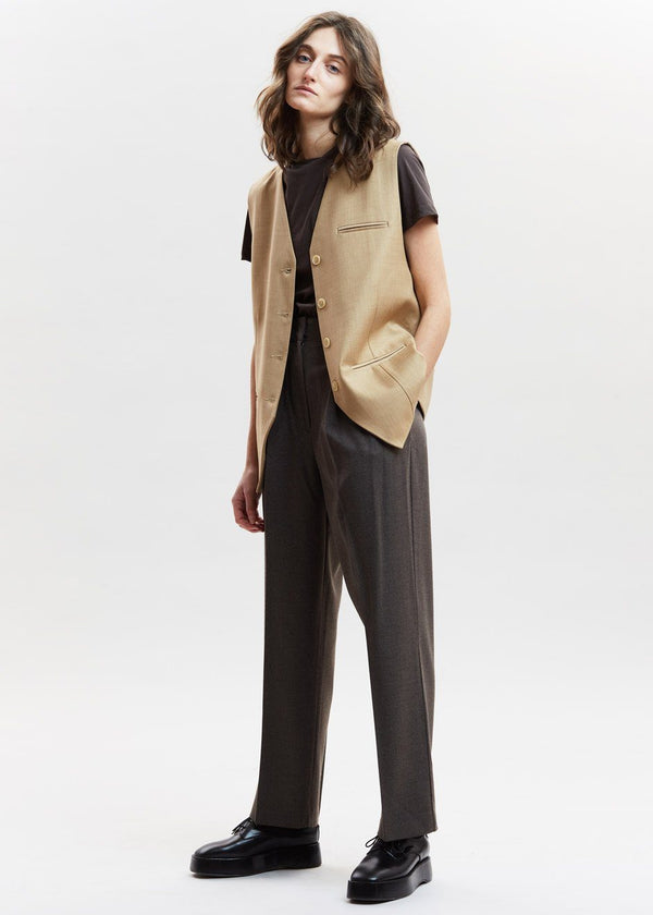 Oversized Suit Vest in Curry Vest De Base Karé