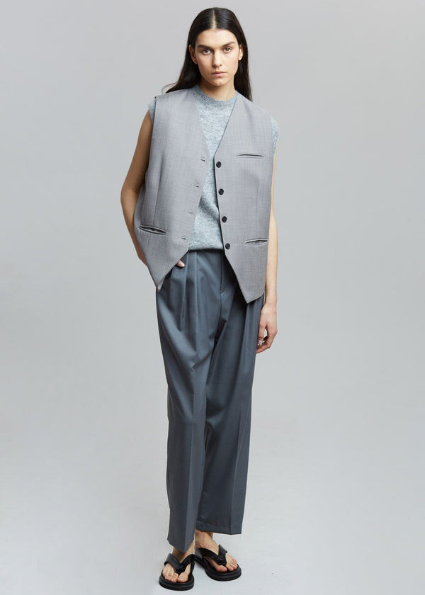 Oversized Suit Vest in Titanium Vest De Base Karé