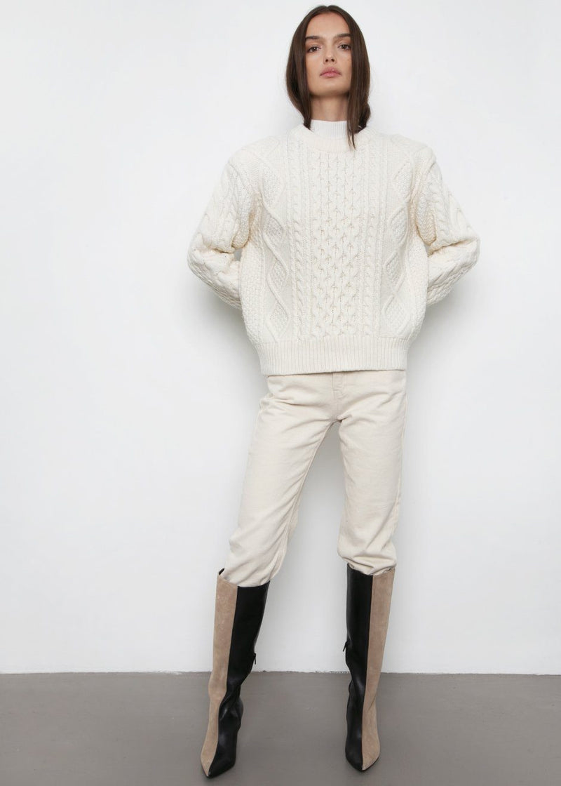 Padded Shoulder Cable Knit Sweater- Ecru Sweater The Frankie Shop