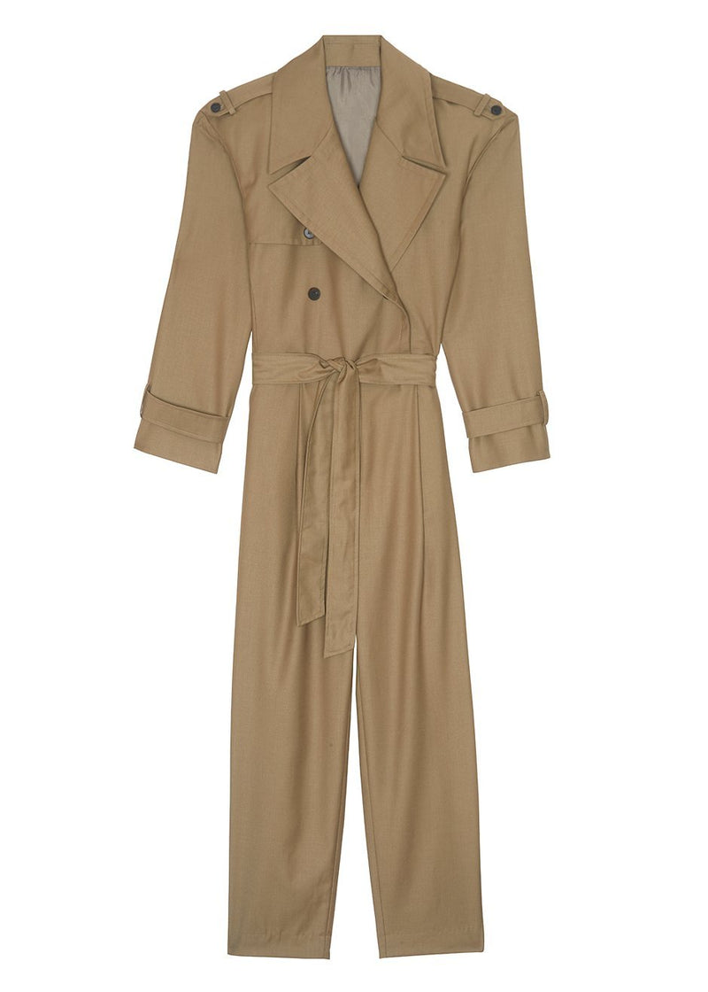 Padded Shoulder Trench Jumpsuit- Khaki Brown Jumpsuit The Frankie Shop