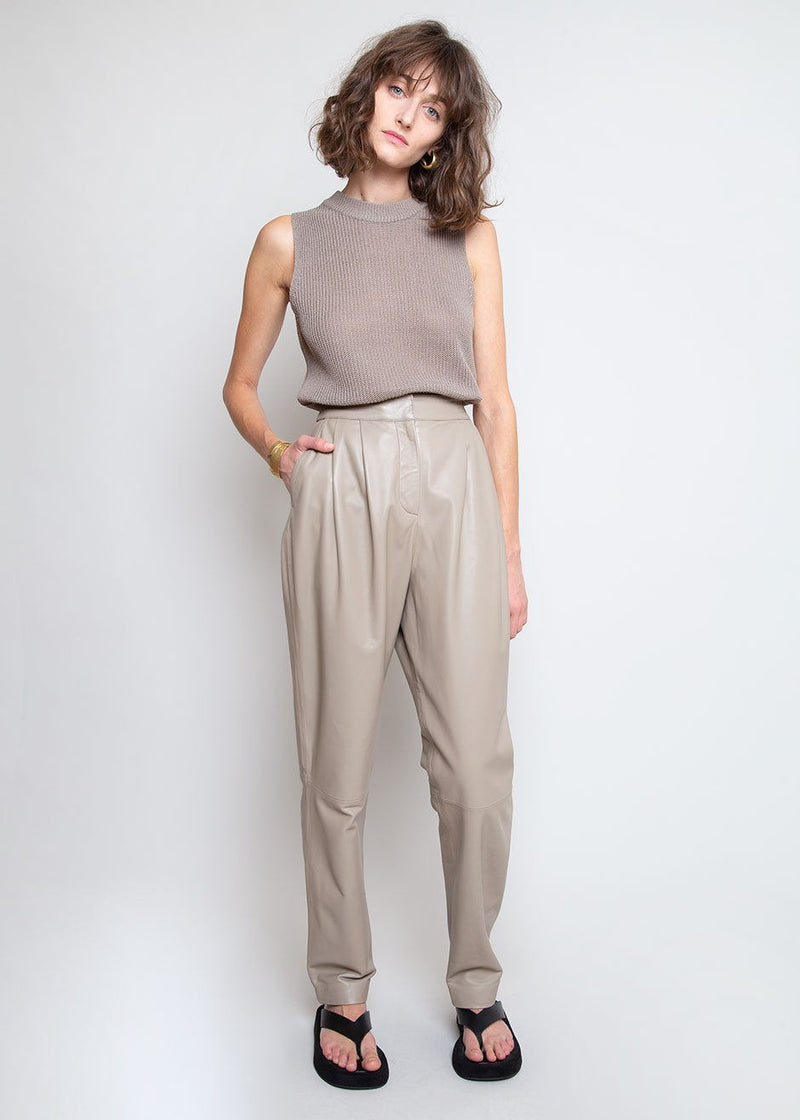 Palaos Leather Trousers by Loulou Studio in Taupe Pants Loulou Studio