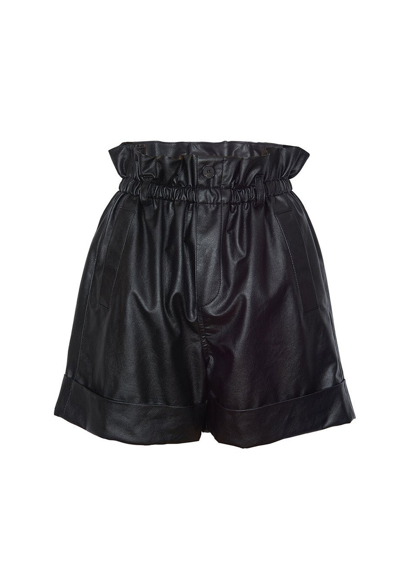 Paperbag Leather Cuffed Shorts- Black Shorts Female BR
