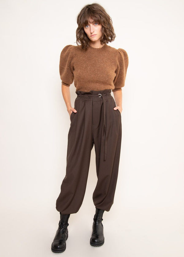 Paperbag Pleat Front Pants in Dark Chocolate Pants The Frankie Shop