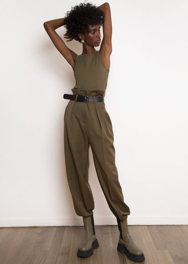 Paperbag Pleat Trousers with Belt in Cardamom pants Ready 2 Wear