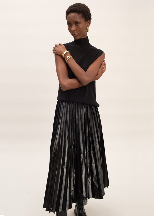 Patent Pleated Midi Skirt in Oil Slick Pants Cafe Noir