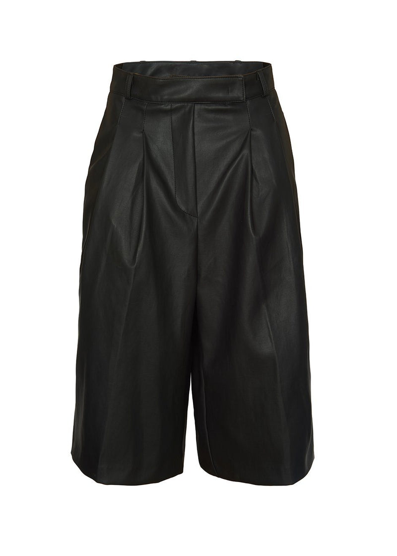 Pernille Faux Leather Trouser Shorts in Black Shorts Stage