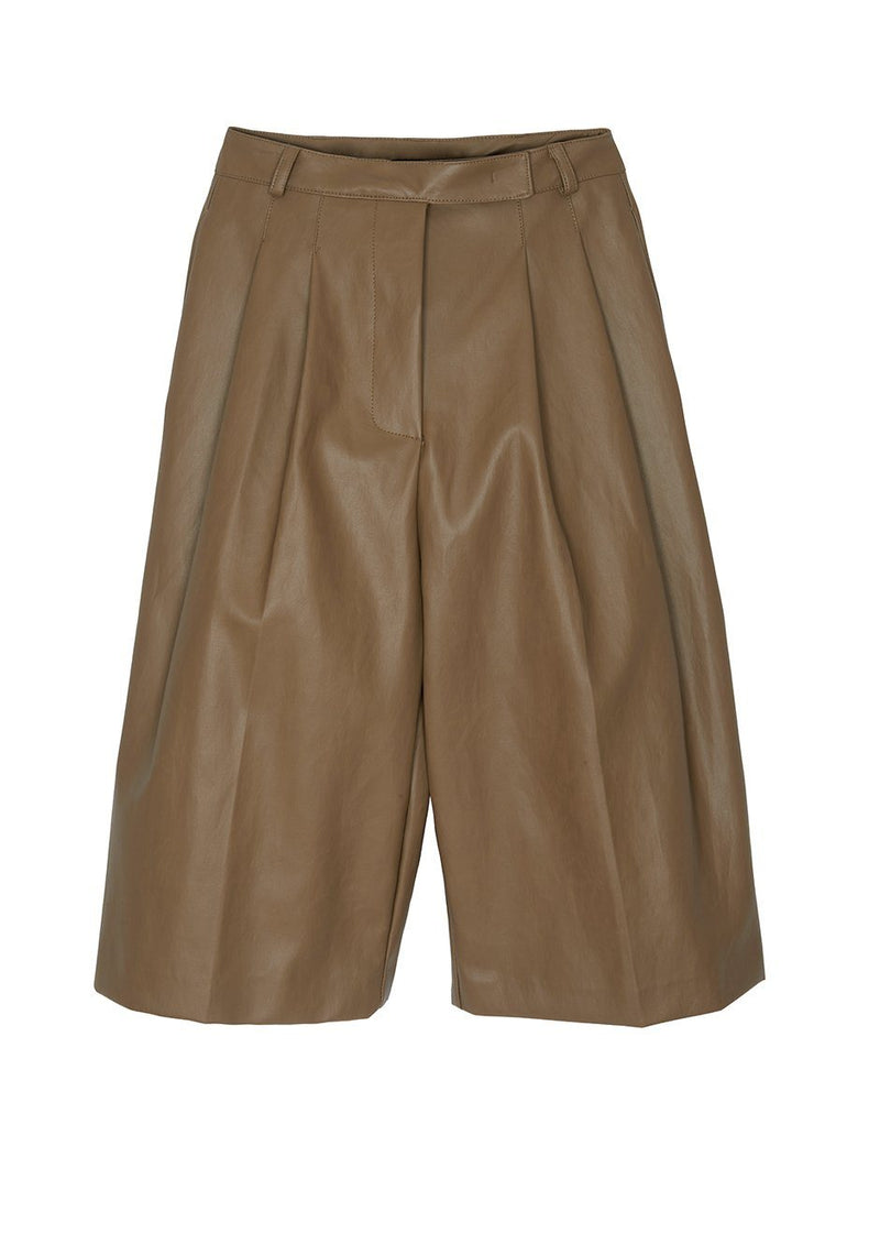 Pernille Faux Leather Trouser Shorts in Brown Shorts The Frankie Shop