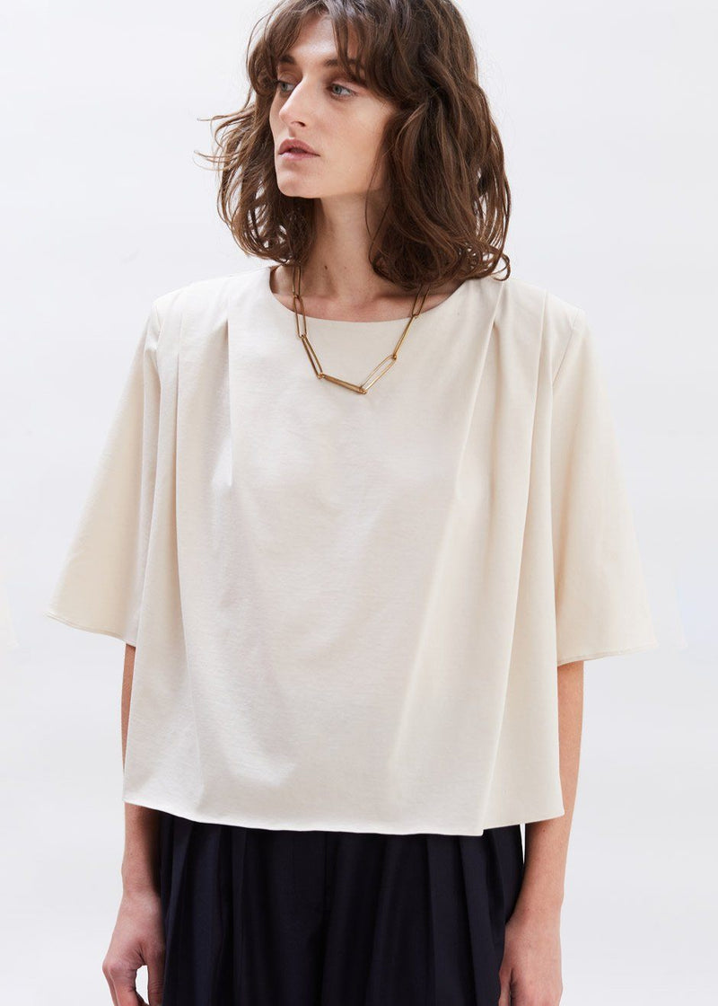 Pleat Front Padded Shoulder Top in Sesame Top Love you so Much