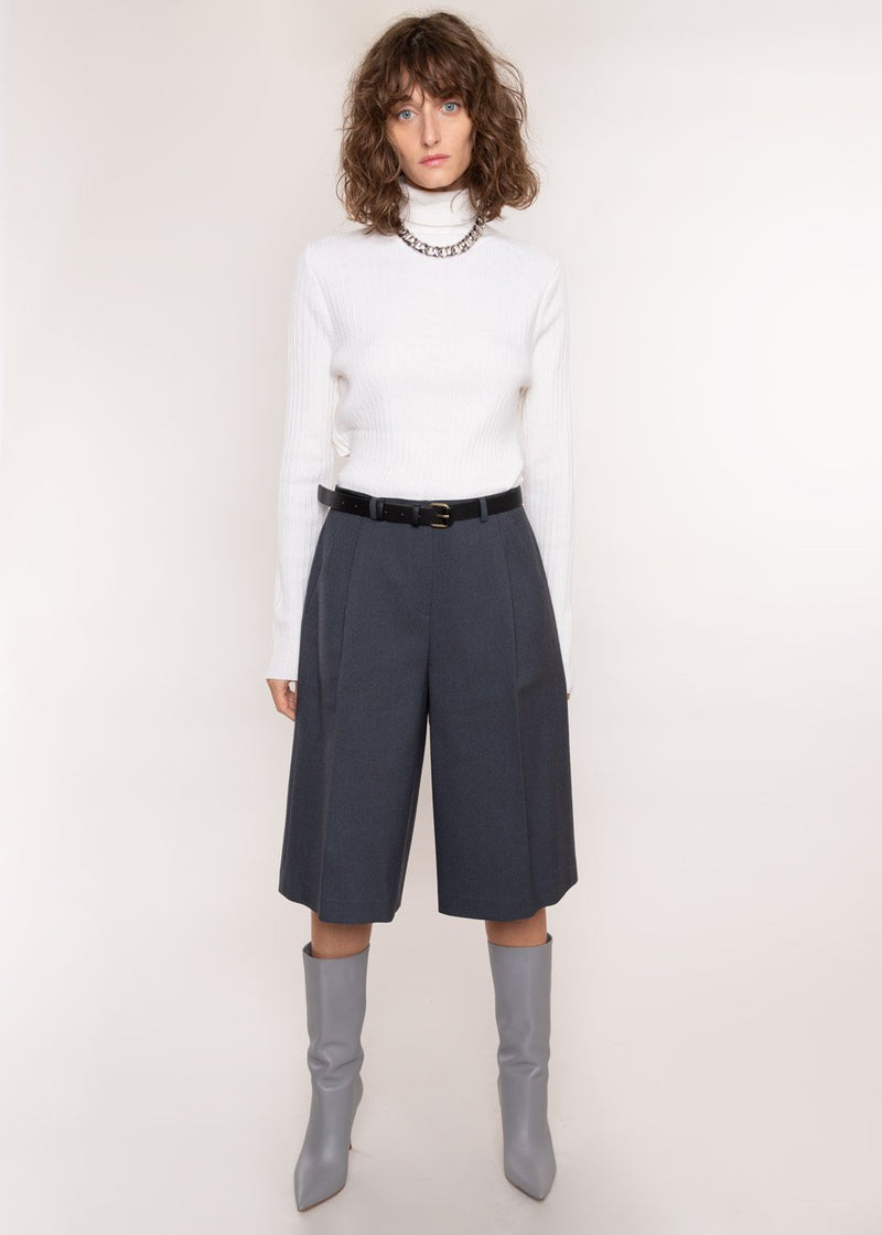 Pleat Front Trouser Shorts in Dark Slate Shorts L'art