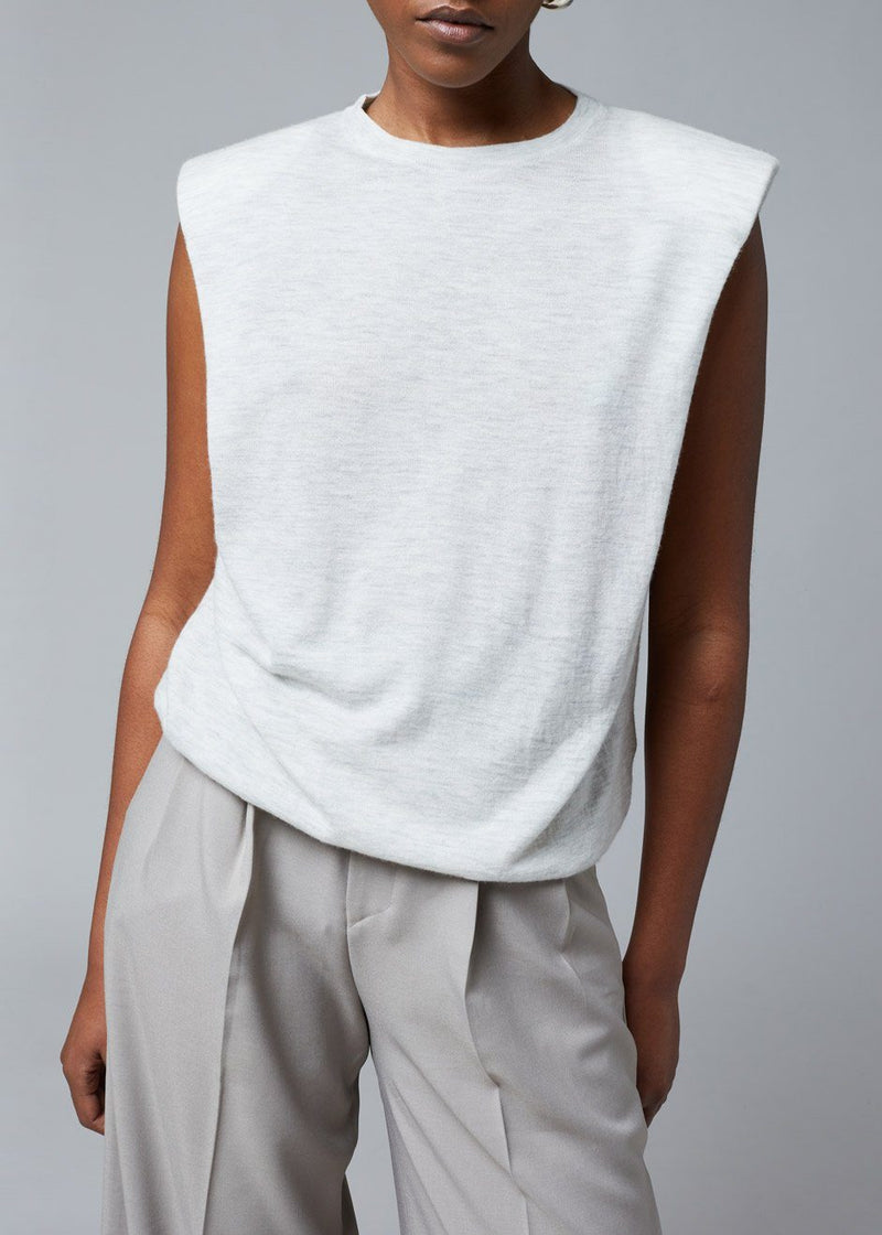 Prince Padded Shoulder Knit Top by Loulou Studio in Light Grey Melange Top Loulou Studio