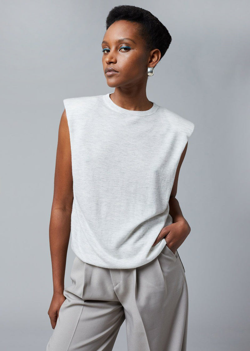 Loulou Studio Prince Knit Top- Light Grey Melange