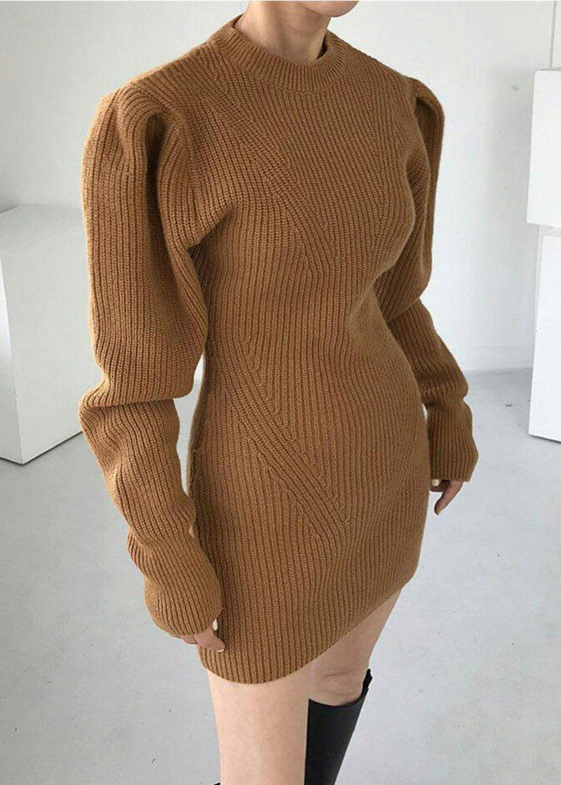 Puff Sleeve Knit Mini Dress in Biscuit Dress 2two moon