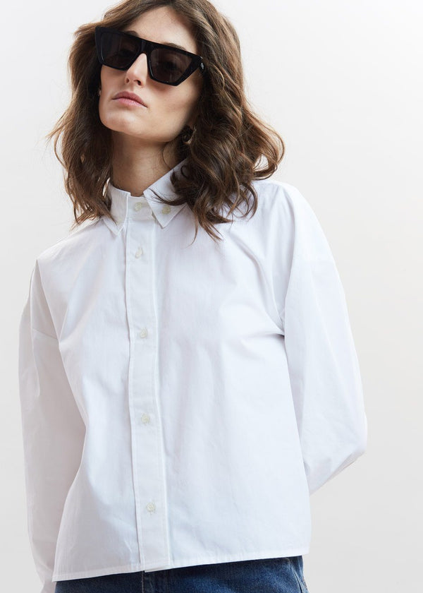 Pulau Cotton Shirt by Loulou Studio in White Top Loulou Studio