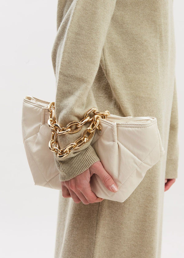 Quilted Chain Strap Leather Mini Bag in Pearl Bag L'art