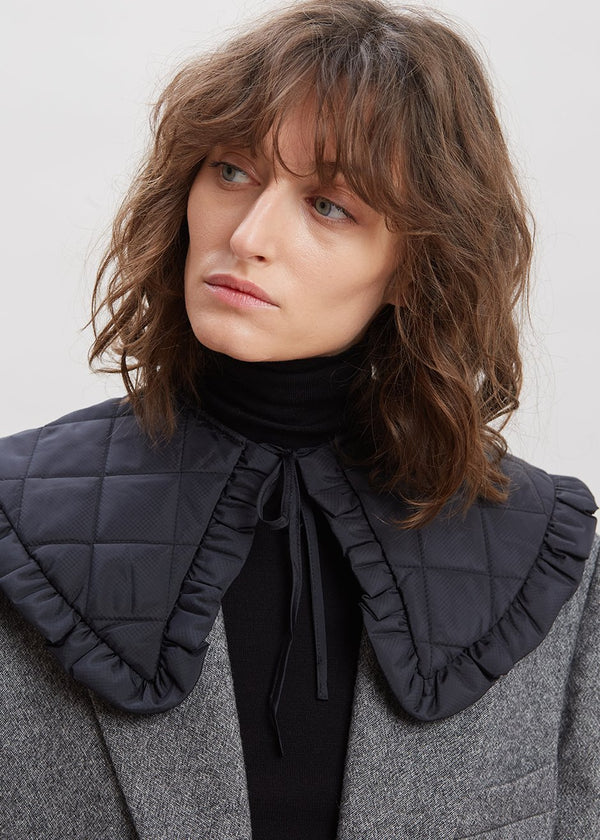 Recycled Ripstop Quilt Collar by GANNI in Black Collar Ganni