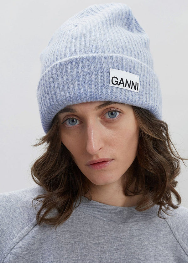 Recycled Wool Knit Hat by GANNI in Heather Hat Ganni