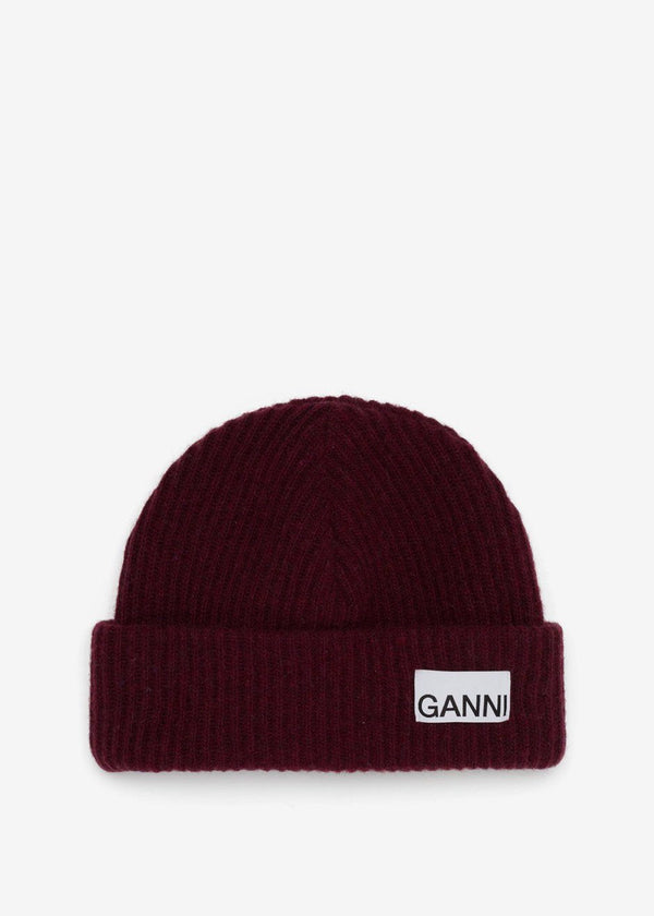 Recycled Wool Knit Hat by GANNI in Port Royale Hat Ganni