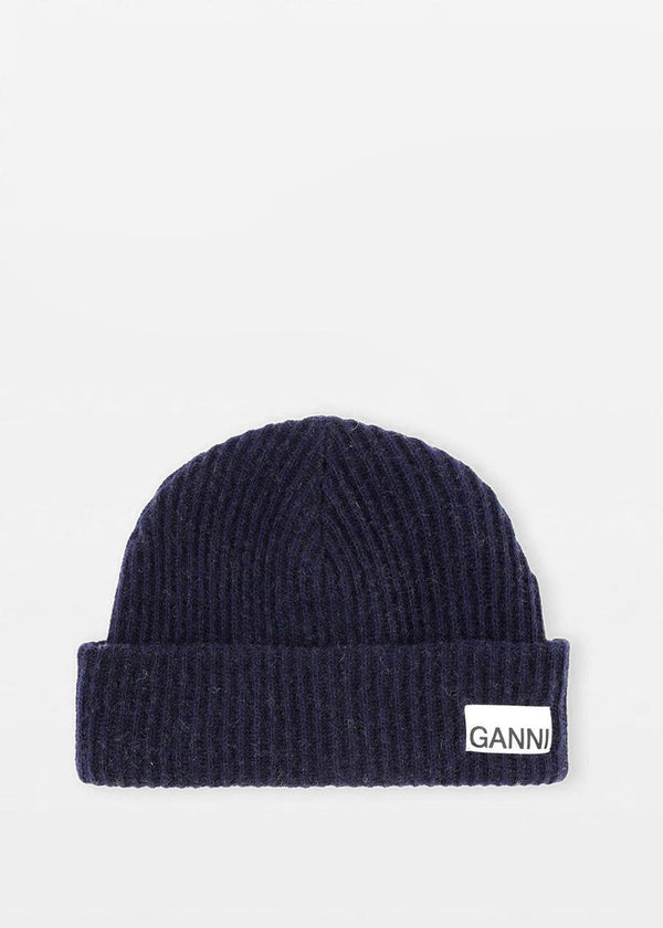 Recycled Wool Knit Hat by GANNI in Sky Captain