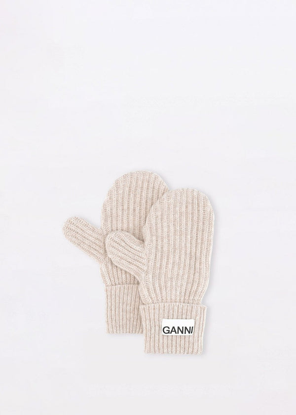 Recycled Wool Knit Mitten Gloves by GANNI in Brazilian Sand