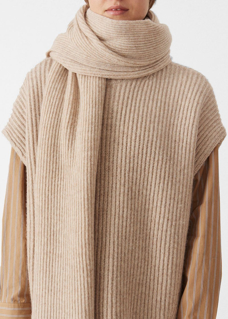 Recycled Wool Knit Scarf by GANNI in Brazilian Sand