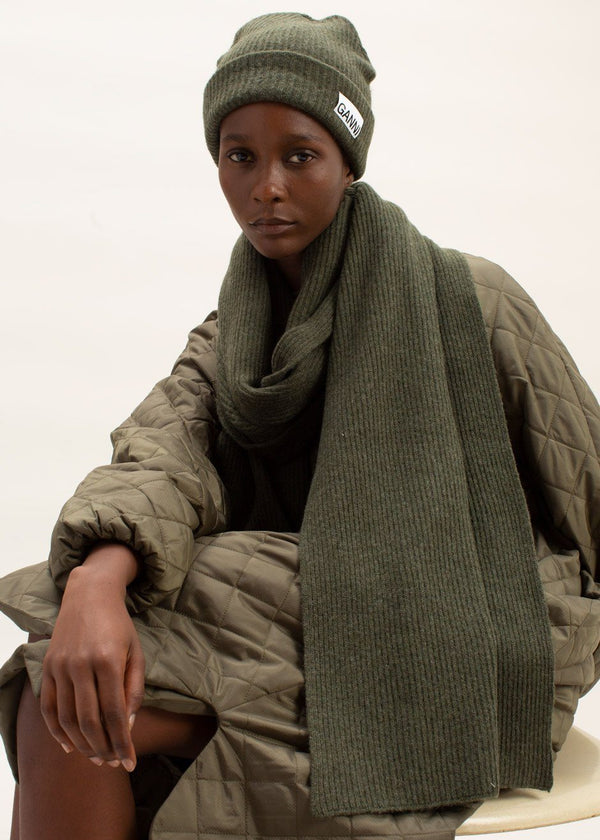 Recycled Wool Knit Scarf by GANNI in Kalamata Scarf Ganni