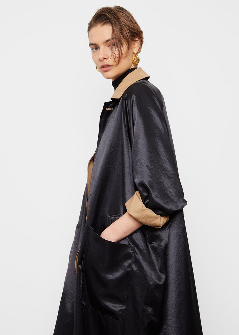 Reversible Silky Trench- Black & Camel trench The Tint
