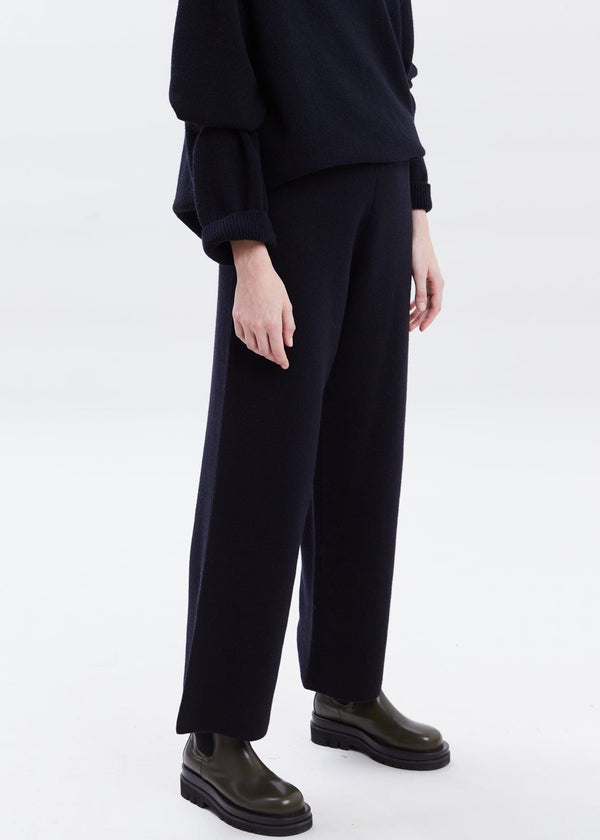 Rib Knit Lounge Pant in Navy Pants The Frankie Shop