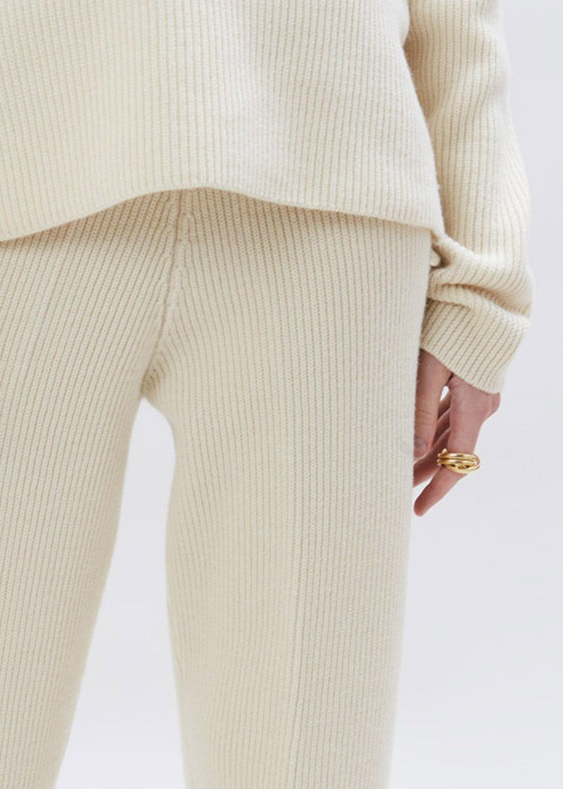 Ribbed Tapered Lounge Pants in Eggnog Pants The Frankie Shop