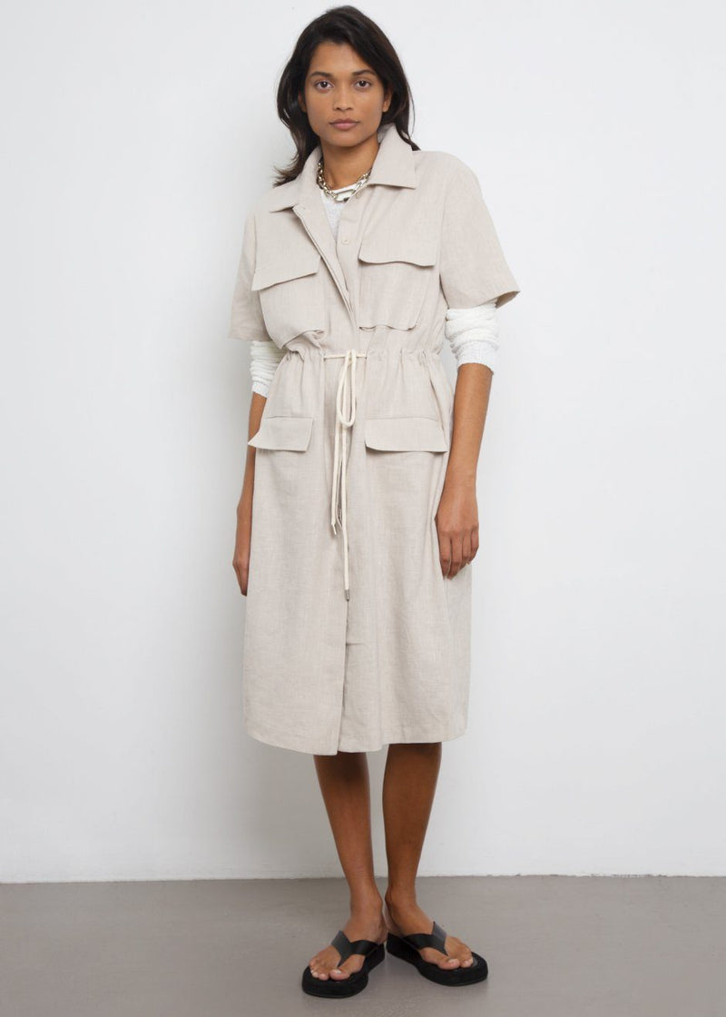 Rope Tie Linen Pocket Dress- Wheat Dress Beside You